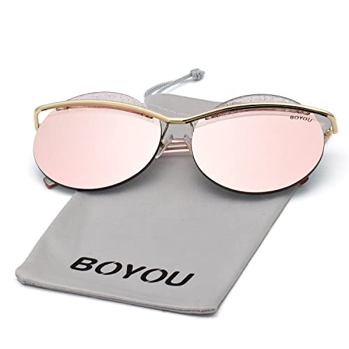 891ebdb7b3b18 BOYOU Cat Eye Metal Frame Women Sunglasses with Mirrored Lenses and UV400  Protection