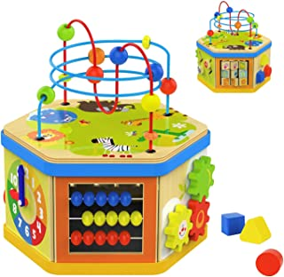 TOP BRIGHT Activity Cube Toys Baby Educational Wooden Bead Maze Shape Sorter 7-in-1 Toys for 1 Year Old Boy and Girl Toddlers Gift