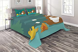 Lunarable Camping Coverlet Set Queen Size, Bear and Duck Roasting Marshmallow at Fire Forest Animals Funny Cartoon Characters, 3 Piece Decorative Quilted Bedspread Set with 2 Pillow Shams, Multicolor