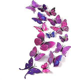 TUPARKA 36 Piezas Mariposa 3D Pegatinas de pared Mariposas de pared Accesorios para el dormitorio para niñas, Púrpura
