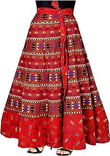 356f29a2d5 Mayuri Cotton Women's Pure Cotton Wrap Around Skirt,KGST_126_Red_Freesize