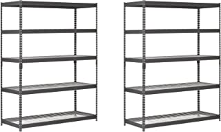 Edsal TRK-602478W5 Heavy Duty Steel Shelving In Black 60x24x78 inches (2 PACK)