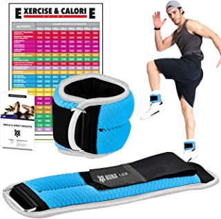 Bona Fitness Adjustable Ankle Weights with Reflective Trim/2-5lbs (1 Pair) Durable Ankle Weights Set with Strap/Best for Walking, Jogging, Gymnastics Arm Leg Weights