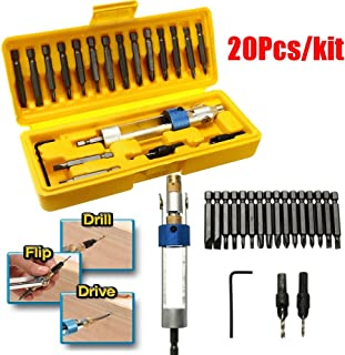 KISENG 20Pcs Screwdriver Repair Tools Kit Drill Driver Swivel Head Holder with Drill Bit Set