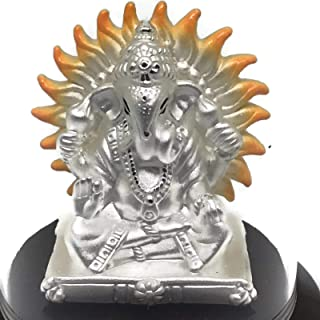 Ganesh Pure Silver (99.5%) Idol/Statue/Murti Round Base(Figurine# 04)