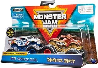 Monster's Jam Official Ice Cream Man vs. Monster Mutt Die-Cast Monster Trucks 1:64 Scale- 2pk