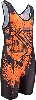 KO Sports Gear Orange Skull Wrestling Singlet