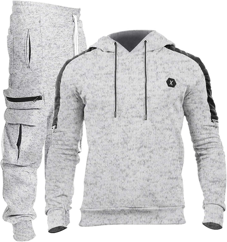 HUOJING Leisure Suits Men's Solid Tracksuits Jogging Hooded Sweatshirt Hoodies Multi-Pocket Cargo Pants