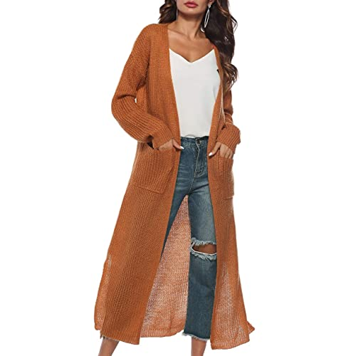 5af1c7b50d0a Womens Casual Long Sleeve Split Open Cardigan Knit Long Cardigan Sweaters  with Pockets