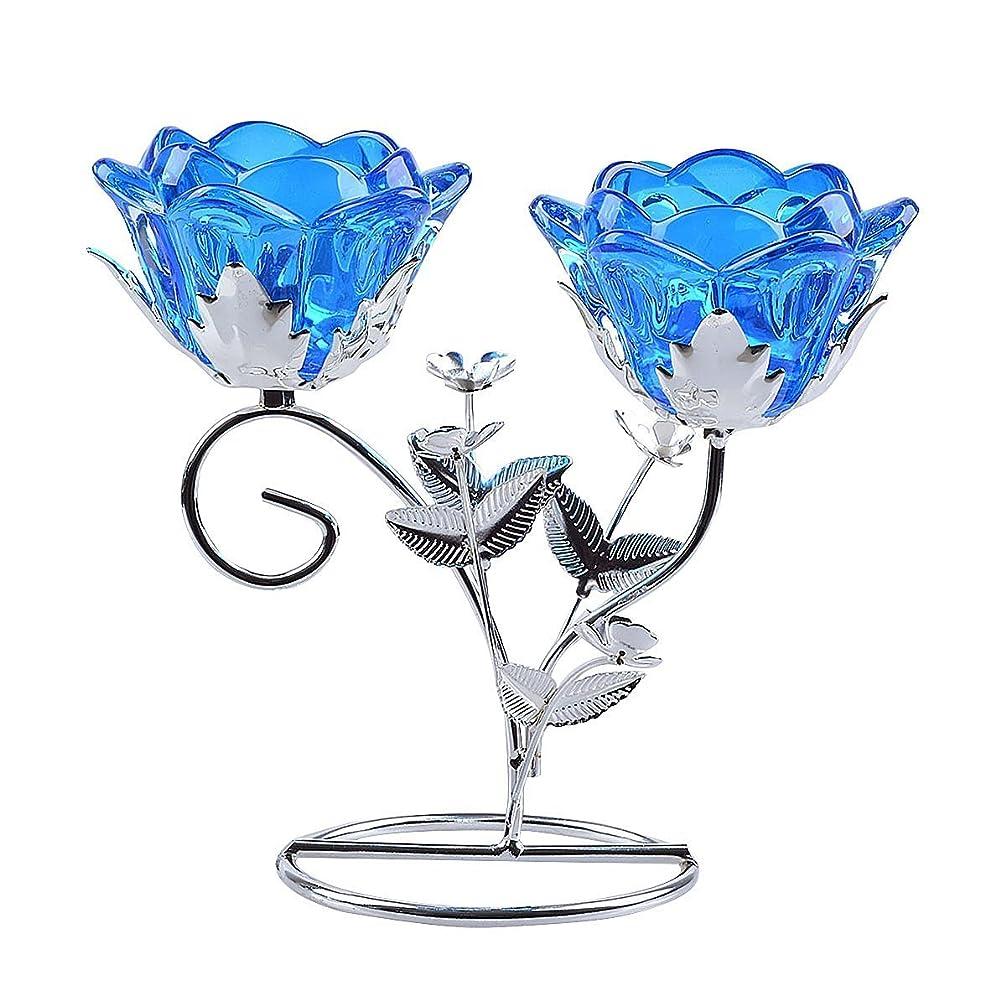 復活する累積サーバ透明 ガラス花形 蝋燭立て 2本 ろうそく立て キャンドル 容器 燭台 (水色)