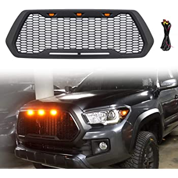 Haitzu Grill for Toyota Tacoma 2016 2017 2018 2019 2020 TRD Pro, SR5, TRD Off-Road, TRD Sport, SR and Limited with 3 Amber LED Lights Front Grille Matte Black without Sensor Spot
