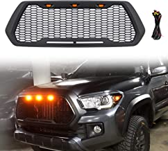 Haitzu Grill for Toyota Tacoma 2016 2017 2018 TRD Pro, SR5, TRD Off-Road, TRD Sport, SR and Limited with 3 Amber LED Lights Front Grille Matte Black without Sensor Spot