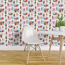 Spoonflower Peel and Stick Removable Wallpaper, Rockabilly Pop Dancers Music 1950 Retro Vintage Fashion Illustration Girls Pastel Colors Pinup Print, Self-Adhesive Wallpaper 24in x 108in Roll