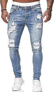 WangsCanis uomini di modo fori denim pantaloni jeans strappati pantaloni skinny jeans slim fit lunghi denim di lavoro pant...