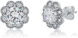 Features 2 dazzling round-cut cubic zirconia stones each measuring 6mm, as well as 16 round-cut stones each measuring 1.25mm.