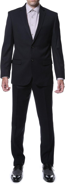 Ferrecci Men's Ernesto Black Pinstripe Slim Fit 2pc Suit
