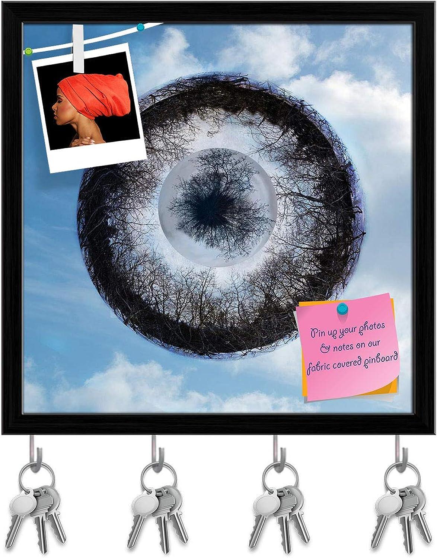 Artzfolio Fantasy Eye of Tree Branches Key Holder Hooks   Notice Pin Board   Black Frame 20 X 20Inch