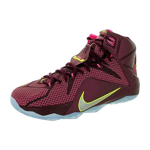 Nike Mens Lebron XII Merlot/Mtllc Silver/VLT/Pnk Pw Basketball Shoe 11