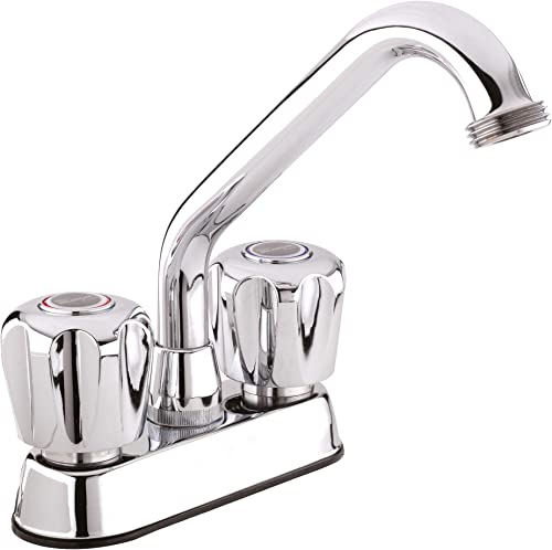 Plumb Pak 3040W Dual Handle Laundry Tub Faucet with Swivel Spout and Hose End for Utility Sink, Polished Chrome