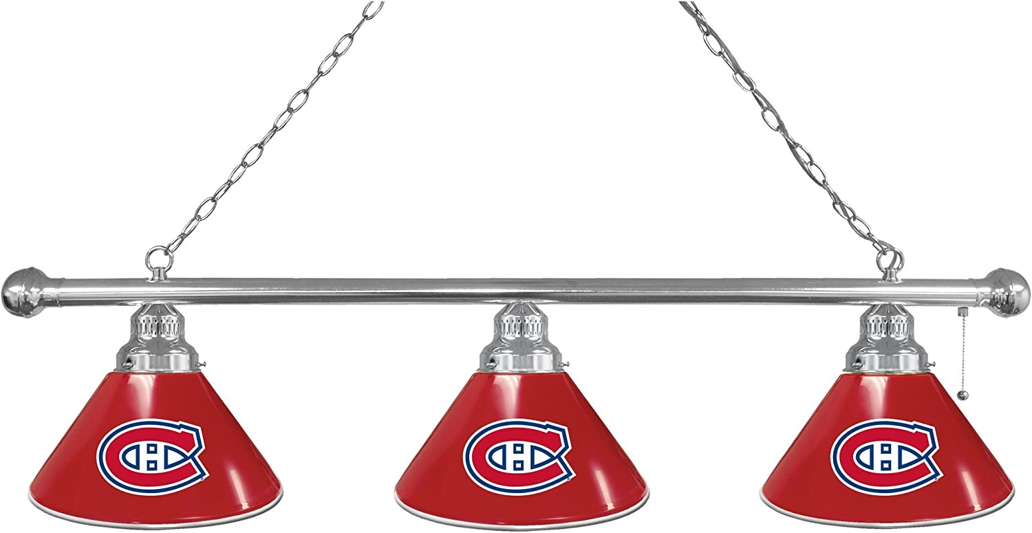 Montreal Canadiens 3 Shade Billiard Light with Chrome Fixture