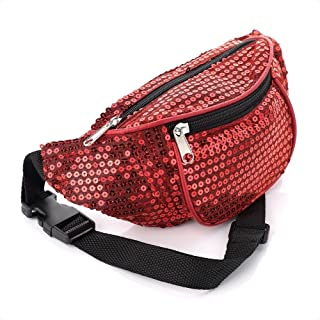 Red Colour Sequin Coloured Hip Belt Bum Bag