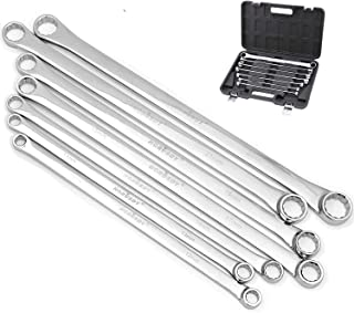 7 Pieces Aviation Double Ring Spanner Extra Long Wrench Set Metric Size 10-24mm With Rolling Storage Box
