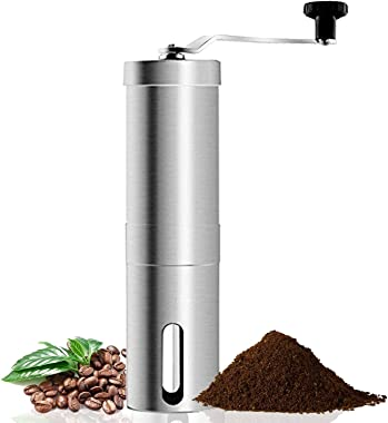 Coffee Grinder, Aessdcan Manual Coffee Mill, Mini Portable Home Kitchen Travel Coffee Bean Grinder with Adjustable Ceramic Co