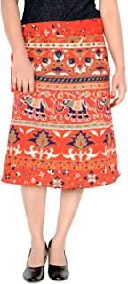Women's Cotton Printed Knee Length Regular Wrap Around Skirt (W24NT_0006)