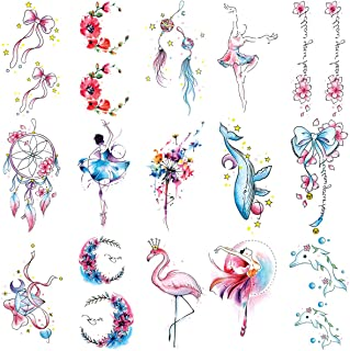 Oottati 15 Pieces Small Cute Color Pink Bow Tie Flower Wind Chimes Ballet Dreamcatcher Dandelion Whale Diamond Moon Flamin...