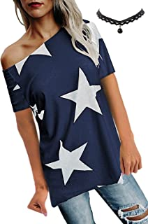 BUOYDM Mujer Camiseta de Fiesta Manga Corta Sin Tirantes Casual T-Shirt para Verano