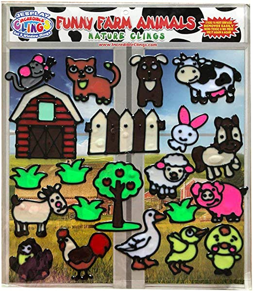 Funny Farm Animal Flexible Gel Clings Glass Window Clings For Kids And Toddlers Removable Reusable Gel Decals For Home Airplane Classroom Nursery Decoration Rooster Chicks Pig Cow And More
