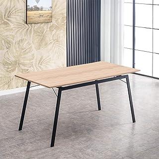 Mc Haus GASHIRA - Mesa Rectangular Comedor de madera Natural con estructura de Metal Negro mate Mesa Cocina Salón Diseño ...