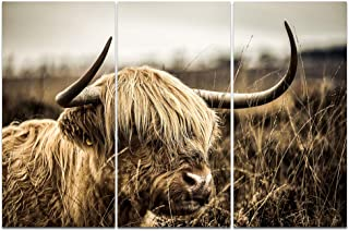 Welmeco 3 Pieces Large Animals Wall Decor Highland Cow Picture Longhorn Cattle Photograph Canvas Prints Poster Artwork for Home Office Living Room Decoration Rustic Style