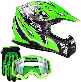 Typhoon Youth Kids Offroad Gear Combo Helmet Gloves Goggles DOT Motocross ATV Dirt Bike MX Motorcycle Green (Small)
