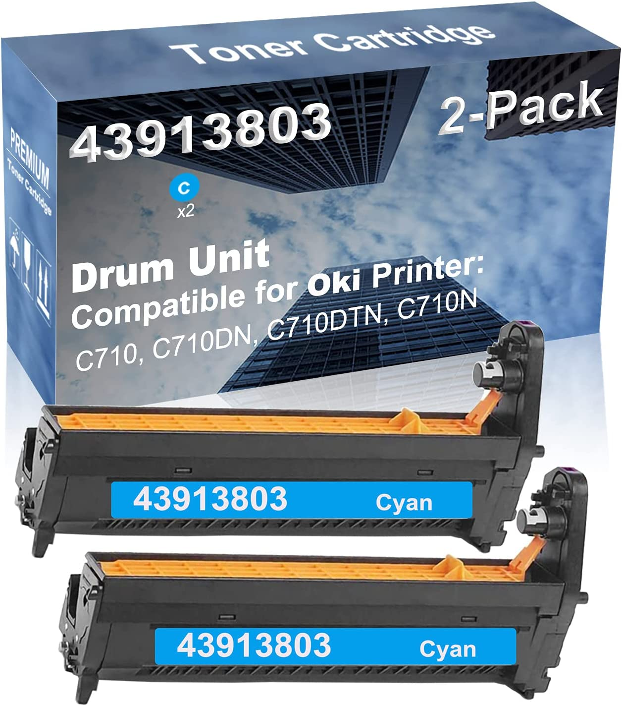 2-Pack (Cyan) Compatible High Yield 43913803 Drum Unit Used for Oki C710, C710DN, C710DTN, C710NDW Printer