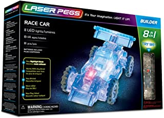 Laser Pegs Race Car 8-in-1 Building Set Building Kit; The First Lighted Construction Toy to Ignite Your Child's Creativity; It's Your Imagination, Light It Up