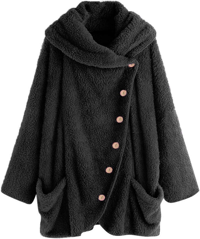 Women Casual Solid Turtleneck Big Pockets Cloak Coats Vintage Oversize Coats
