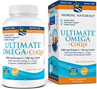 Nordic Naturals Ultimate Omega with CoQ10 - Soft Gels to Support Overall Heart Health and Energy Needs, 90 Count