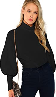 Women's Casual High Neck Pullover Tops Long Sleeve Sweatshirt