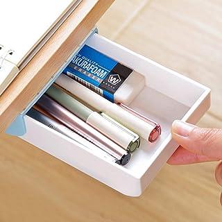 Nakimo Drawer Pencil Tray Self-Adhesive Pop-Up Hidden Desktop Organizer (Blue)