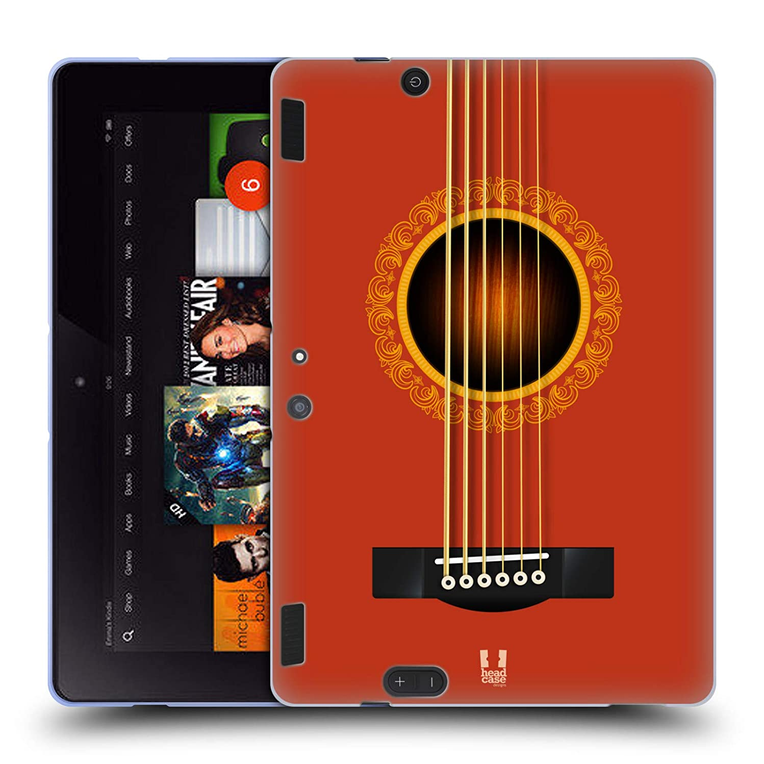 Head Case Designs Orange Acoustic Guitar Soft Gel Case for Amazon Kindle Fire HDX 8.9