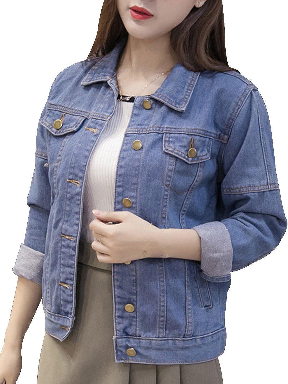 Denim Jackets Trendy XU Women's Long Sleeve Short Style Slim Fit Jean Outwear