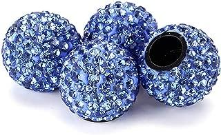 Xuxu521 (4pcs) Auto Car Wheel Tire Tyre Stem Air Cover Valve Caps Bling Crystal Diamond Rhinestone Fashion Ms Madam (Blue)
