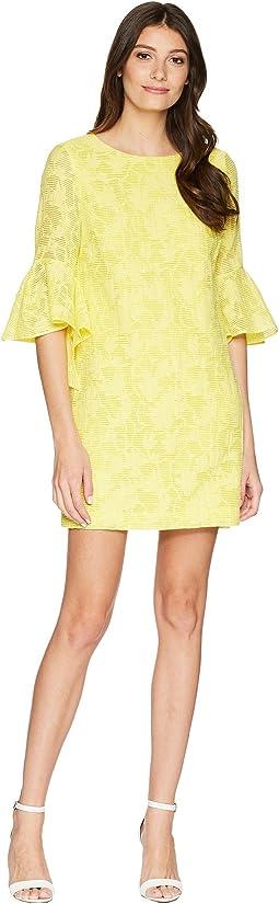 Badgley Mischka Bell Sleeve Floral Print Dress