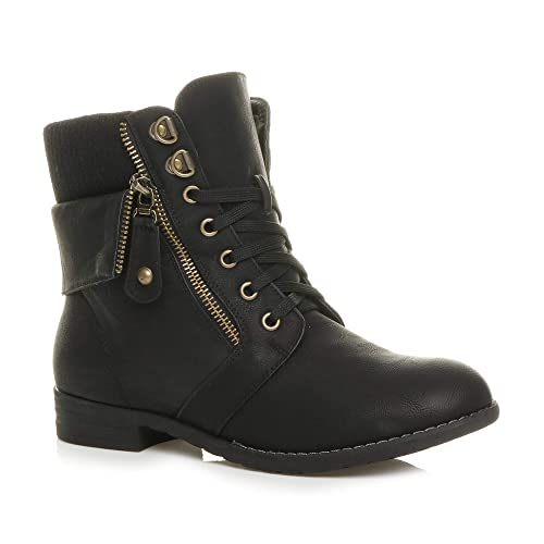 WOMEN LADIES BLACK KNITTED COLLAR LACE UP SUEDE ANKLE CHELSEA BIKER SHOES BOOTS