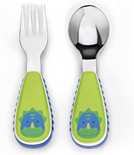 Skip Hop Toddler Utensils, Fork and Spoon Set, Dinosaur