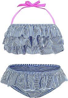 HowJoJo Girls Two Piece Bikini Swimsuit Floral Ruffle Swimwear Flounce Bathing Suit Set
