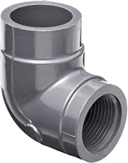 GF Piping Systems PVC Pipe Fitting, 90 Degree Elbow, Schedule 80, Gray, 2