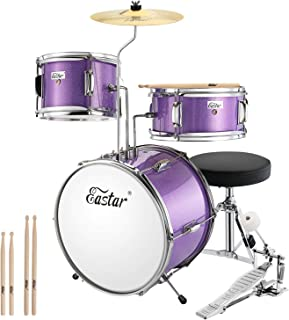 Eastar 14 inch Kids Drum Set 3 Piece with Throne, Cymbal, Pedal & Drumsticks,Metallic..