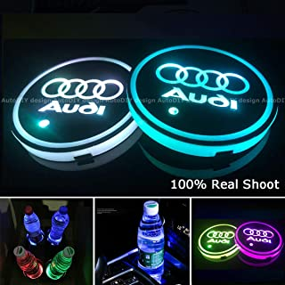 AutoDIY Led Car Logo Cup Lights up Holder USB Charging Waterproof Bottle Drinks pad 7 Colors Changing Atmosphere Lamp mat Cars for Luminous Coasters 2PCS (for Audi)